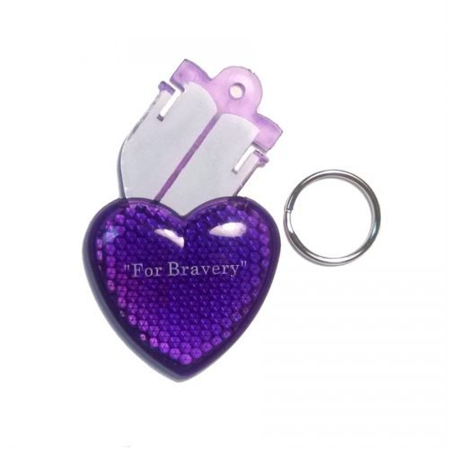 Reflex Reflector Pet Purple Heart ID Tag