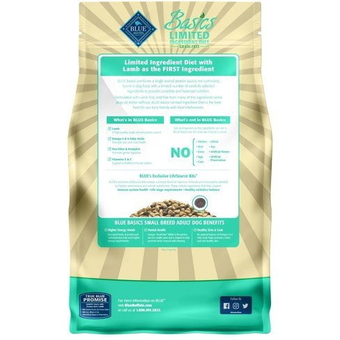 Blue Basics Limited Ingredient Small Breed Adult Grain Free Lamb & Potato Recipe 4LB