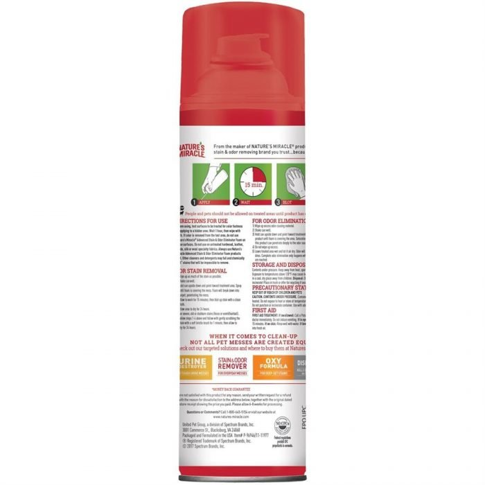 Spectrum Nature's Miracle Advanced Dog Stain & Odor Foam Aerosol 17.5oz