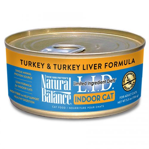 Natural Balance Cat LID Indoor Turkey & Turkey Liver Formula Cans 24/5.5oz