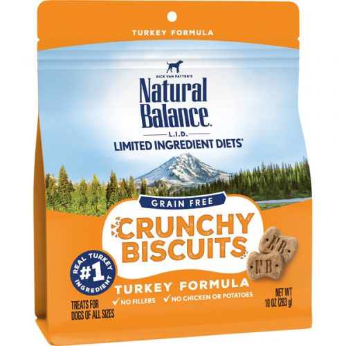 Natural Balance Dog LID Crunchy Biscuits Turkey Formula Treats 10oz