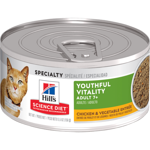 Hill's Science Diet Adult 7+ Youthful Vitality Chicken & Vegetable Entrée Canned Cat Food, 5.5 oz, 24 Pack